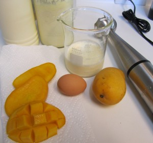 Ingredients for mango smoothie