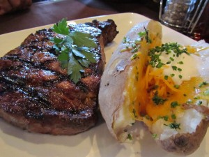 Ribeye with baked potato