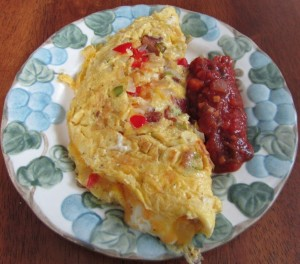 Omelet with goat cheese