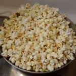 Popped corn in skillet